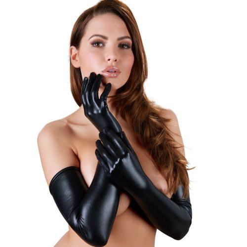 Cottelli Collection hosszú, fényes fekete kesztyű (24601221101)