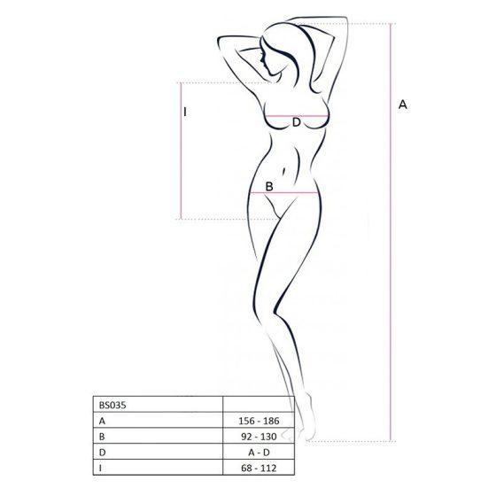 Passion pántos-hálós, alul nyitott body (fekete) S-L méret