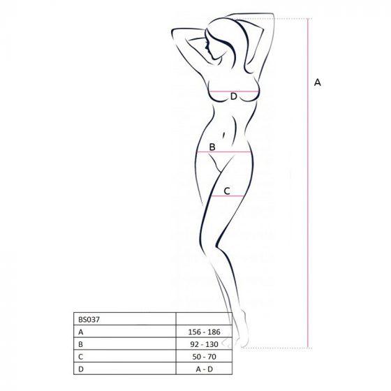 Passion alul nyitott, nyakpántos fekete testharisnya gazdagon díszítve (BS037BLACK)