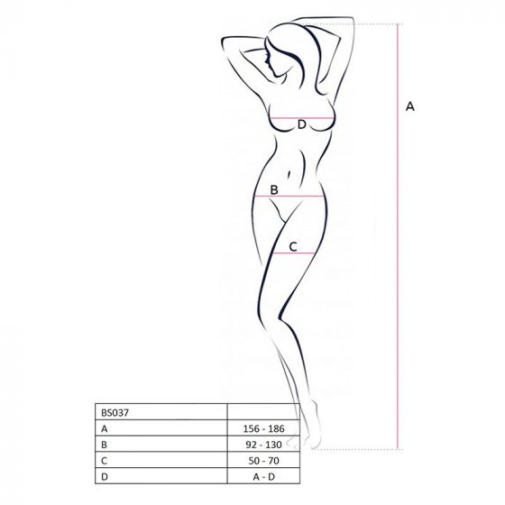 Passion alul nyitott, nyakpántos testharisnya gazdagon díszítve (piros) S-L méret