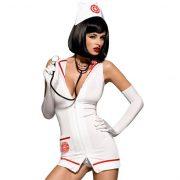 Obsessive ápolónő jelmez, sztetoszkóppal