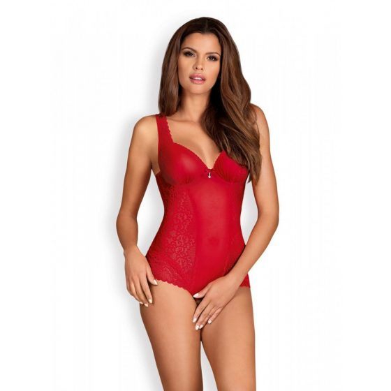 Obsessive Rougebelle nyitott teddy (piros) S-M méret