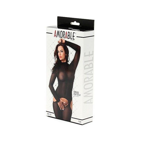 Amorable fekete, áttetsző, alul nyitott cicaruha S-L méret