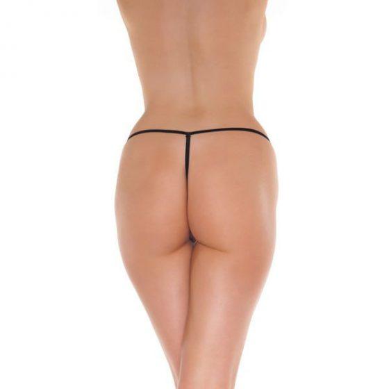 Amorable csipkés mini tanga, nyitott (fekete) S-L méret