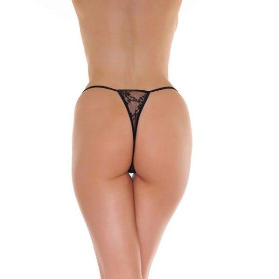Amorable csipkés mini tanga (fekete) S-L méret