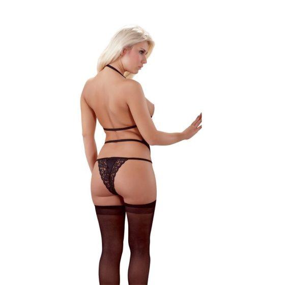 Cottelli Collection harisnyatartós felső & tanga (fekete) S-M méret