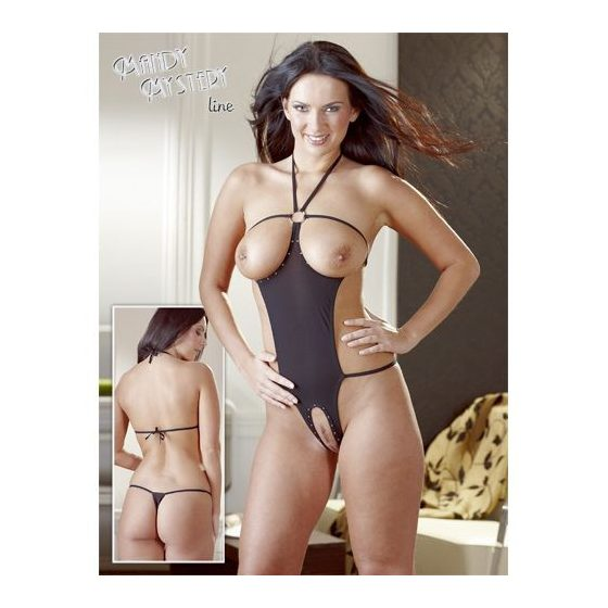 Mandy Mystery nyitott, strasszos body (fekete) S-L méret