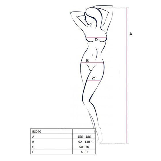 Passion alul nyitott, virágmintás testharisnya (fehér) S-L méret