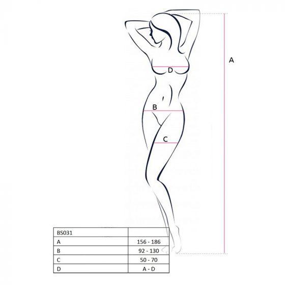 Passion alul és felül nyitott, virágmintás testharisnya (fekete) S-L méret