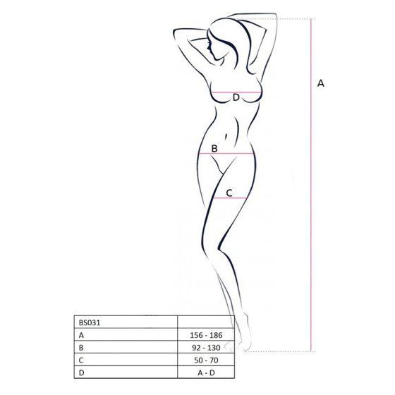 Passion alul és felül nyitott, virágmintás testharisnya (piros) S-L méret