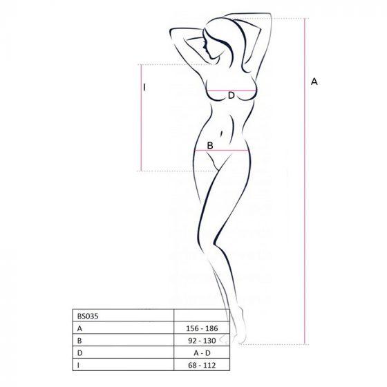 Passion pántos-hálós, alul nyitott body (fehér) S-L méret