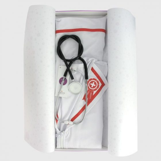 Obsessive ápolónő jelmez, sztetoszkóppal S-M méret