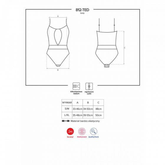 Obsessive 812-TED-1 középen nyitott teddy csipkebetéttel (fekete) L-XL méret