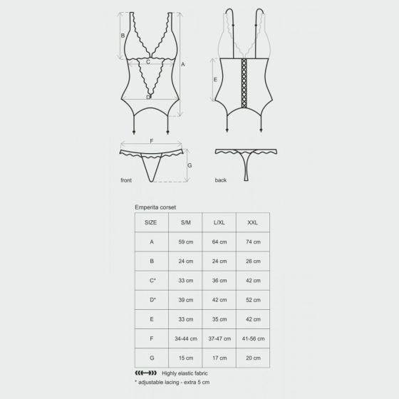 Obsessive Emperita fűző és alsó (fekete) XXL méret