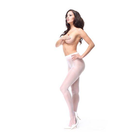 MissO nyitott harisnyanadrág vastagabb anyagból (fehér) XXL méret